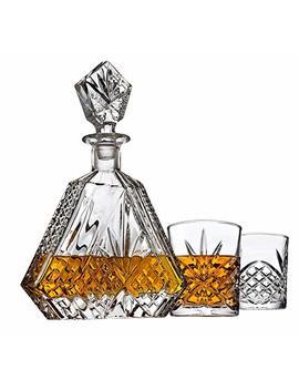 Whiskey Decanter Set For Liquor Scotch Bourbon Or Wine, Includes 2 Dof Whisky Glasses   Irish Cut Triangular by Lefonte