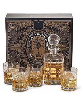 Elegant 5 Piece Whiskey Decanter Set   Spectacular Gift Box   Whiskey Glass Set Of 4 With Decanter   Rocks Whiskey Glasses Square Engraved | Lead Free Bourbon Scotch Liquor Dispenser by Regal Trunk & Co.