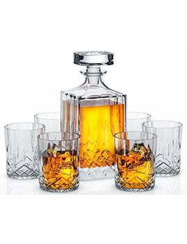 Miko Crystal Decanter Set With 6 Double Old Fashioned Glasses  Lead Free Crystal (Nairn) by Miko