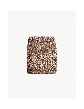 The Mini High Waist Leopard Print Denim Skirt by Good American