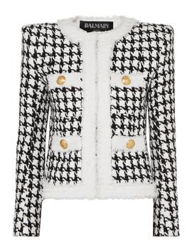 Button Embellished Houndstooth Tweed Blazer by Balmain