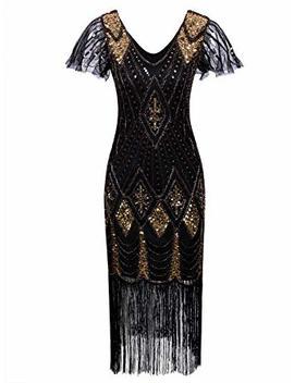 Vijiv Women's 1920s Gatsby Inspired Sequin Beads Long Fringe Flapper Dress With Sleeves by Vijiv