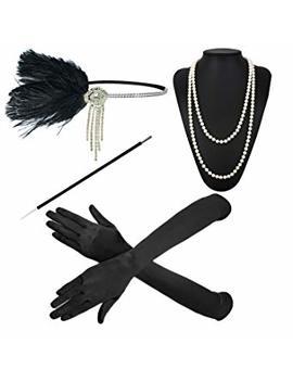 1920s Great Gatsby Accessories Set For Women,Costume Flapper Headpiece Headband by Zero Shop