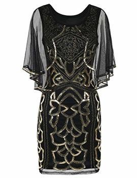 Pretty Guide Women's Flapper Dress 1920s Inspired Sequin Cape Deco Gatsby Dress by Pretty Guide
