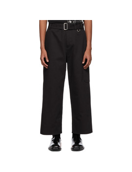 Black Wide Belted Cargo Pants by Alexander Mcqueen