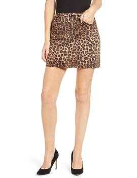 Cheetah Print Raw Edge Miniskirt by Good American