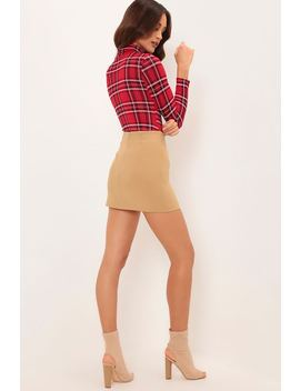 Red Tartan Print Roll Neck Long Sleeve Bodysuit by I Saw It First