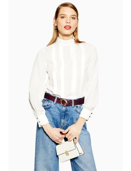 Pleated Button Blouse by Topshop