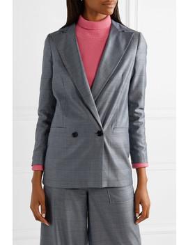 Merkel Oversized Checked Silk And Wool Blend Blazer by Ganni