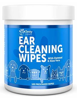 Ear Cleaning Grooming Wipes For Dogs   Cleaner Solution Pads For Ears With Aloe Vera, Chamomile, Oatmeal & Coconut Oil   Great For All Breeds   Lavender Scent For Odors   100 Presoaked Wipes by Zesty Paws