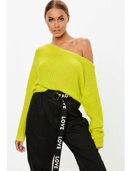 Yellow Neon Off Shoulder Knitted Jumper by Missguided
