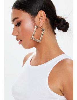 Gold Look Bamboo Rectangle Earrings by Missguided