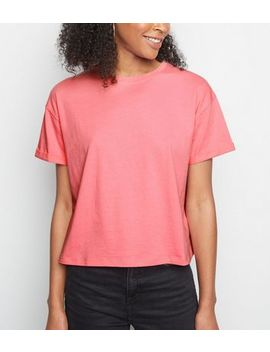 Pink Neon Cropped Cotton T Shirt by New Look