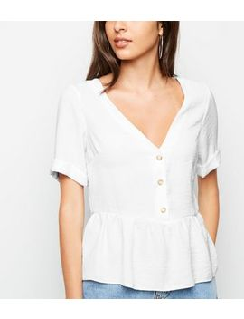 Off White Button Front Peplum Top by New Look