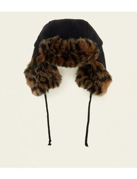 Brown Faux Leopard Fur Lined Trapper Hat by New Look