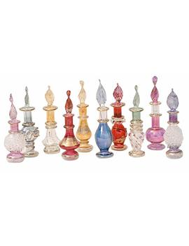 "Crafts Of Egypt Genie Blown Glass Miniature Perfume Bottles For Perfumes & Essential Oils, Set Of 10 Decorative Vials, Each 2"" High (5cm), Assorted Colors by Crafts Of Egypt"