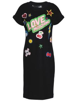 Sequined Printed Stretch Jersey Dress by Love Moschino