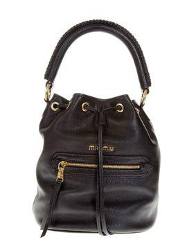 Miu Miu Black Leather Bucket Tote Bag by Miu Miu