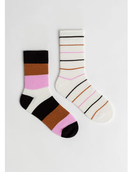 2 Pack Striped Socks by & Other Stories