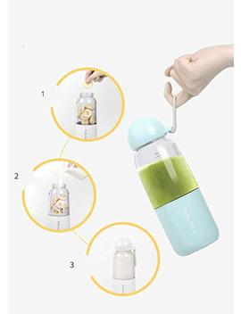 Portable Household Mini Juicer 4pcs Blender Smoothie Maker 350ml Sports Bottle (Blue) by Attireify
