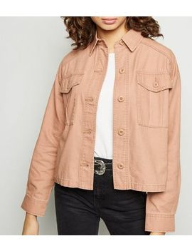 Pink Utility Pocket Cropped Shacket by New Look