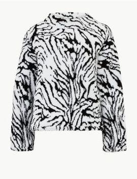 Animal Print Long Sleeve Borg Sweatshirt by Marks & Spencer