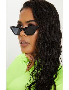Black Narrow Slim Angular Cat Eye  Sunglasses by Prettylittlething