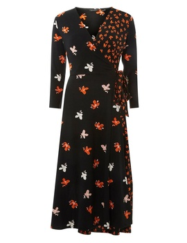 Black Mix And Match Wrap Dress by Dorothy Perkins