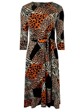 Black Mix And Match Animal Print Skater Dress by Dorothy Perkins