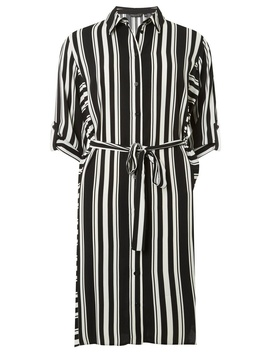 Black And Cream Striped Shirt Dress by Dorothy Perkins