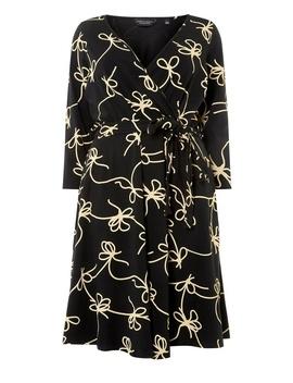 **Dp Curve Rope Print 3/4 Sleeve Wrap Dress by Dorothy Perkins