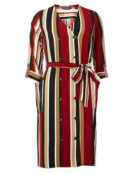 Red Stripe Button Midi Dress by Dorothy Perkins