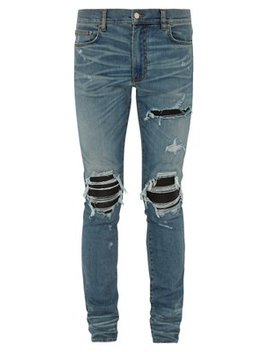 Mx1 Distressed Leather Panel Slim Leg Jeans by Amiri