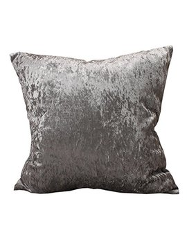 "Fashion Shiny Polyester Ice Crushed Velvet Throw Pillow Cover Modern Solid Colors Decorative Cushion Covers (Silver Gray, 45x45cm (17.7x17.7"")) by Curcya"