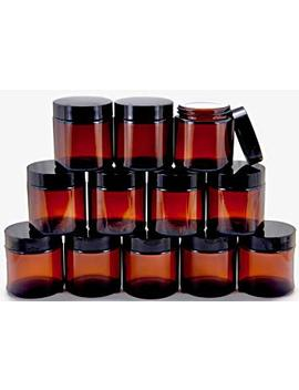 Vivaplex, 12, Amber, 4 Oz, Round Glass Jars, With Inner Liners And Black Lids by Vivaplex