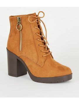 Wide Fit Tan Ring Zip Lace Up Heeled Boots by New Look