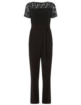 **Black Lace Mix Jumpsuit by Dorothy Perkins