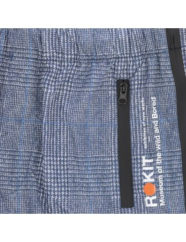 Sunset Nylon Pants Blue / Grey Plaid by Rokit