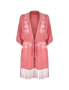Neon Pink Floral Embellished Tassel Kimono by River Island