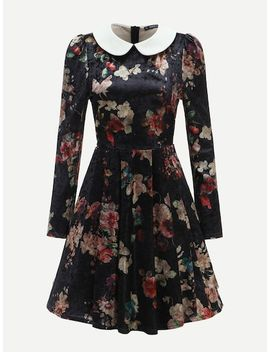40s Contrast Collar Floral Velvet Fit & Flare Dress by Shein