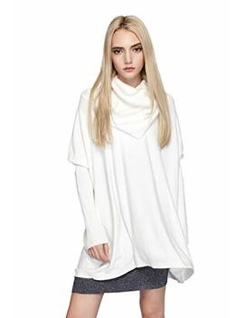 Women Cowl Neck Sweaters Turtleneck Loose Fit Knit Oversized Batwing Long Sleeve Cable Pullover Jumper Dress Top by Woo Spotlight