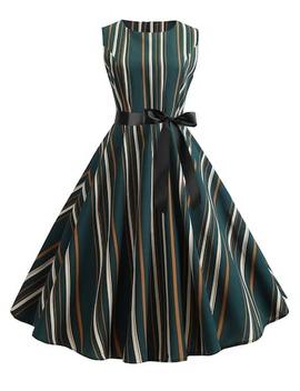 50s Self Tie Striped Dress by Sheinside