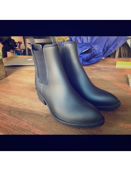 Jeffery Campbell Matte Black Rain Booties by Jeffrey Campbell