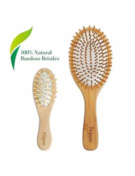 Nipoo Natural Wooden Paddle Hair Brush + Free Mini Travel Brush   Eco Friendly Bamboo Bristle Detangling Hairbrush For Women Men And Kids   Reduce Frizz And Massage... by Nipoo