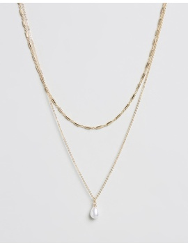 Pearl Drop 2 Row Necklace by Topshop