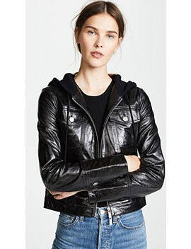 Hooded Leather Jacket by Helmut Lang
