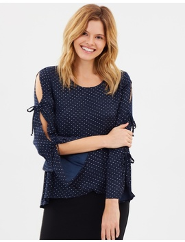 Dot Tie Sleeve Blouse by Sass