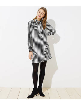 Striped Tie Neck Dress by Loft