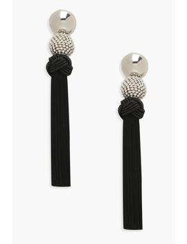 Diamante & Knot Tassel Earrings by Boohoo