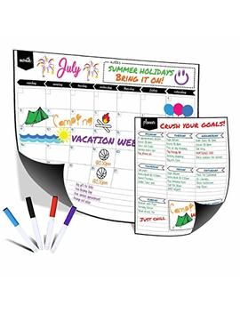 "Magnetic Dry Erase Monthly Fridge Calendar 17""X13"" With Multi Purpose Planner 8.5""X11"" Plus 4 Bonus Markers. Reusable Refrigerator Planner/Erasable Whiteboard Kitchen Grocery List By Kaboochy by Kaboochy"